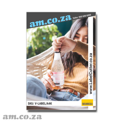 AM.CO.ZA ECOLine™ Inkjet-A4 Matte White 100 Sheets Waterproof, Wear-resist 100 μm Permanent Self-Adhesive Label Paper on 100gsm Liner for Office Inkjet/Laser Printer/Copier