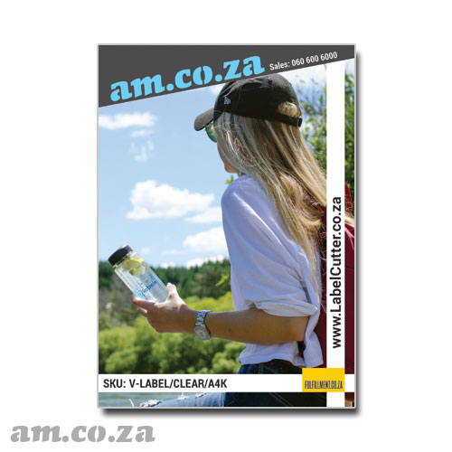 AM.CO.ZA ECOLine™ Inkjet-A4 Transparent 100 Sheets Waterproof, Wear-resist 85 μm Permanent Self-Adhesive Label Paper on 140gsm Liner for Office Inkjet/Laser Printer/Copier