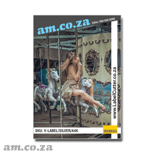 AM.CO.ZA ECOLine™ Inkjet-A4 Silver 100 Sheets Waterproof, Wear-resist 85 μm Permanent Self-Adhesive Label Paper on 100gsm Liner for Office Inkjet/Laser Printer/Copier